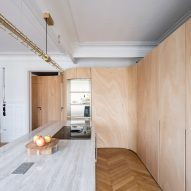 Wood Ribbon apartment by Toledano + Architects