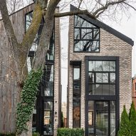 Ancerl Studio separates twin Toronto townhouses with a slender gap