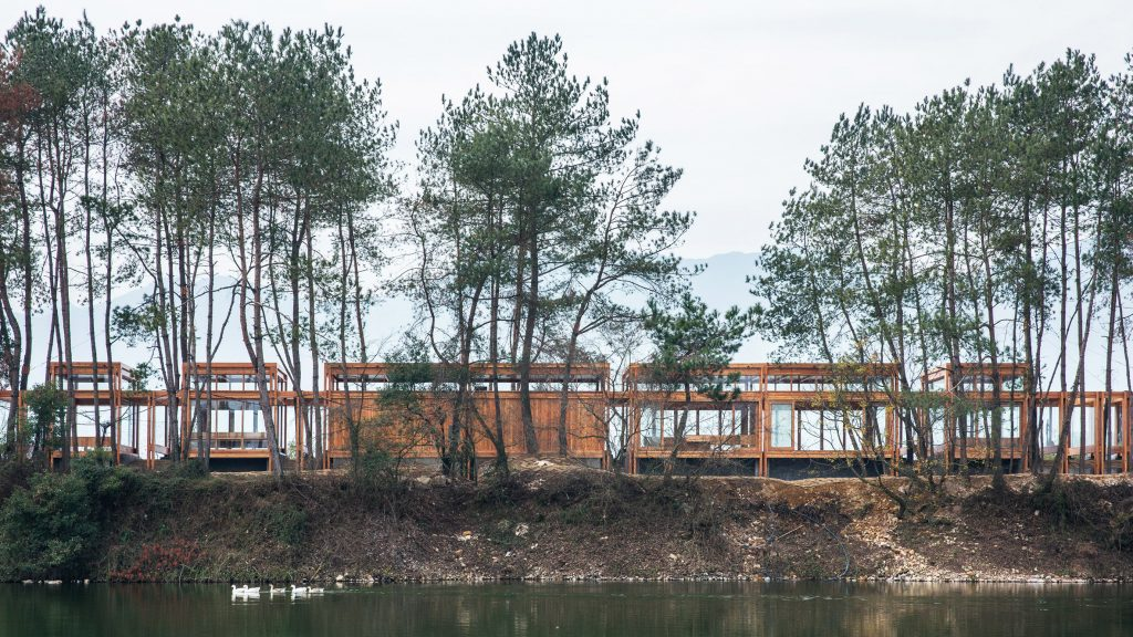 Riverside visitor centre in China built around existing trees