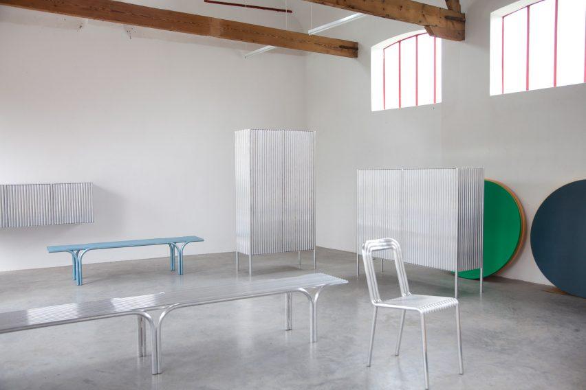 Muller Van Severen construct furniture series from rows of aluminium tubes