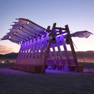 """Large """"sail-like canopy"""" topped Burning Man installation Archaeopteryx"""