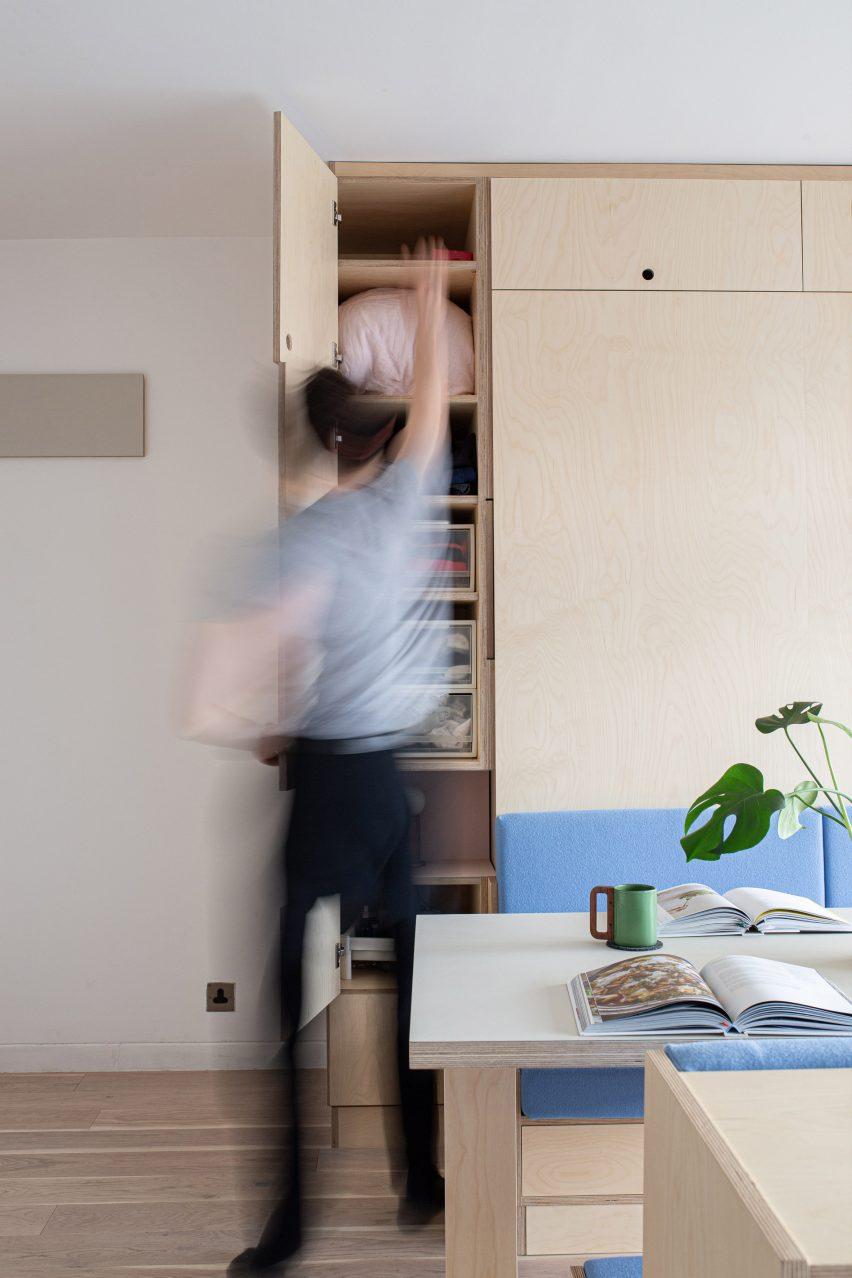 Barbican Dancer's Studio by Intervention Architecture folding furniture