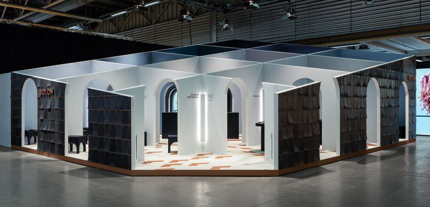 Snarkitecture's stall for Bolon at Stockholm Furniture Fair 2020