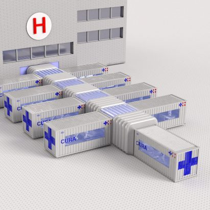 Shipping-container intensive care units – Connected Units for Respiratory Ailments (CURA) by Carlo Ratti Associati and Italo Rota