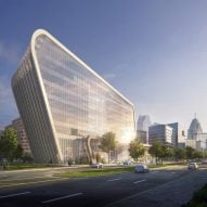KPF unveils slanted building for Detroit Center for Innovation tech campus