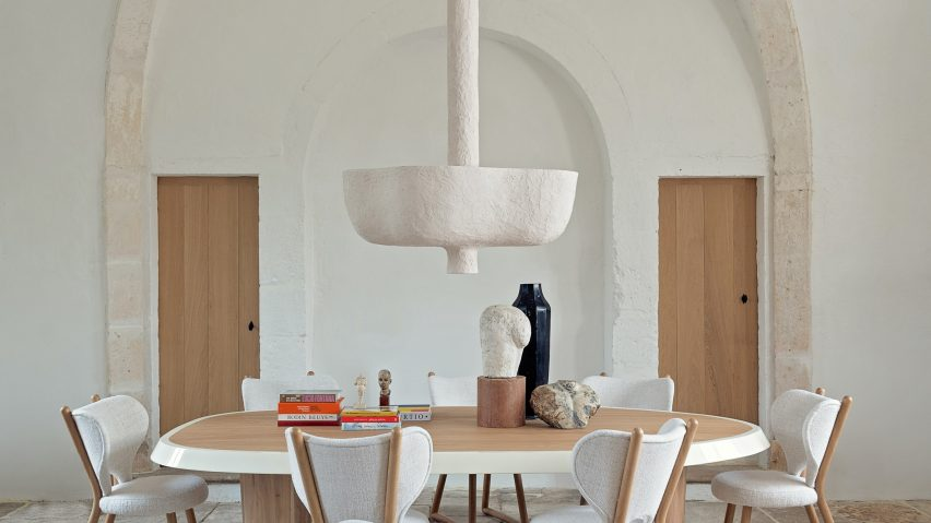 "Pierre Augustin Rose designs Eole Suspension light to ""retain traces of the sculptor"""