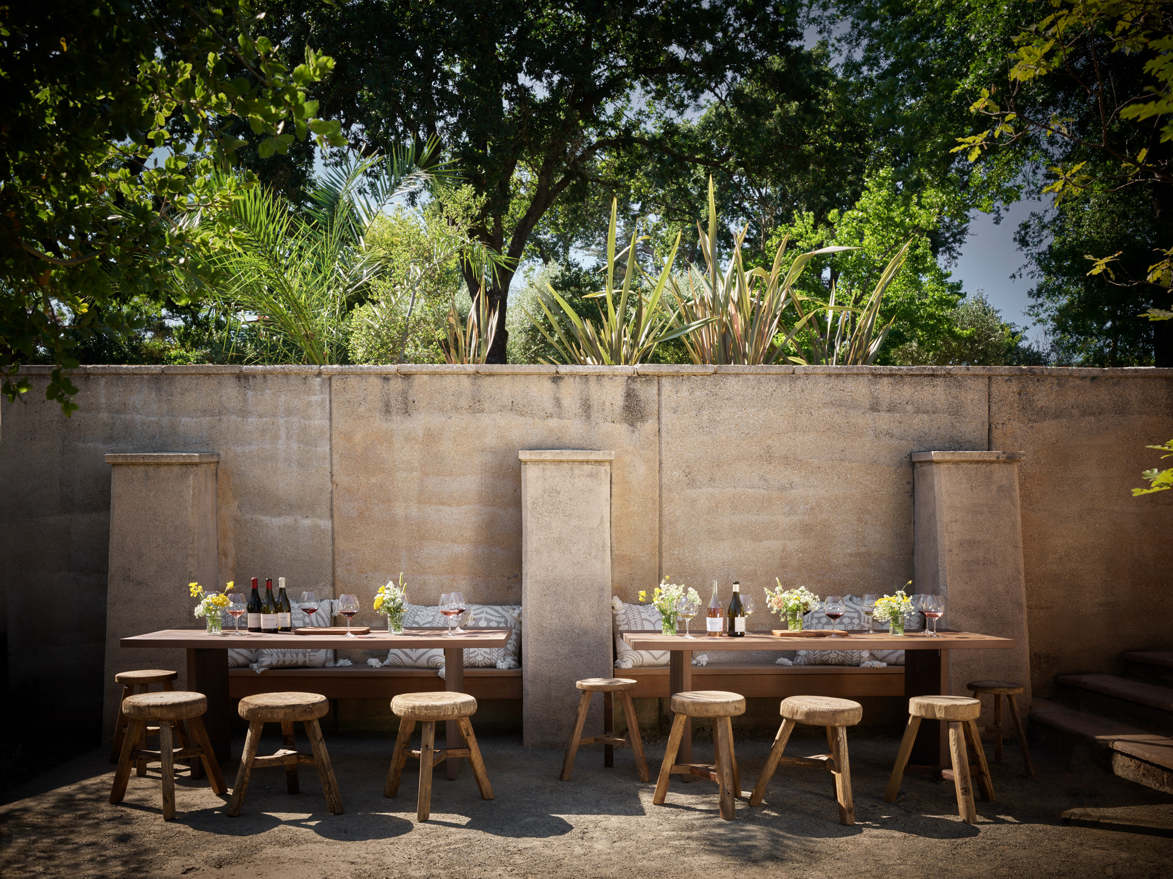 Dining tables at House of Flowers winery by Walker Warner Architects