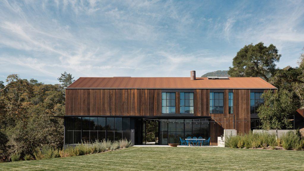 Faulkner Architects perches Big Barn house on Sonoma Valley hillside