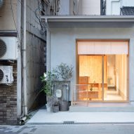 Land beauty salon is tucked in skinny slot between Osaka shops