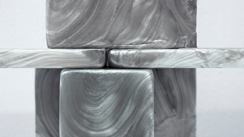 Plasticiet stretches recycled plastic like taffy for Mother of Pearl furniture