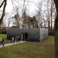 Overtreders W and Bureau SLA Music Pavilion at Sint-Oelbert Gymnasium with Pretty Plastic cladding by Overtreders W and Bureau SLA