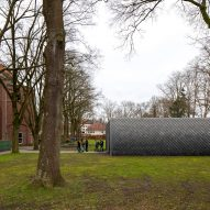 Overtreders W and Bureau SLA Music Pavilion at Sint-Oelbert Gymnasium with Pretty Plastic cladding by Overtreders W and Bureau SLA