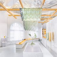 Mesh and paper-pulp partitions feature inside Nanjing's Shiwu store