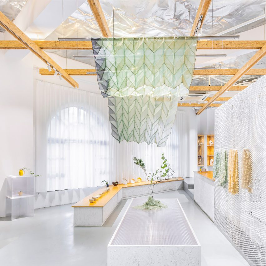 Image of article 'Mesh and paper-pulp partitions feature inside Nanjing's Shiwu store'