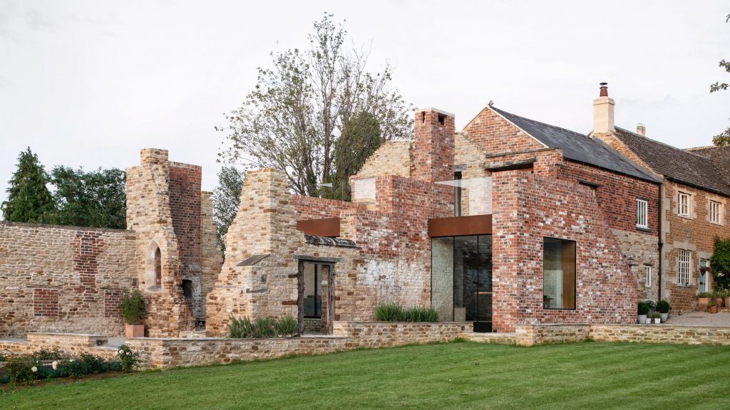Historic stone ruin borders The Parchment Works house extension