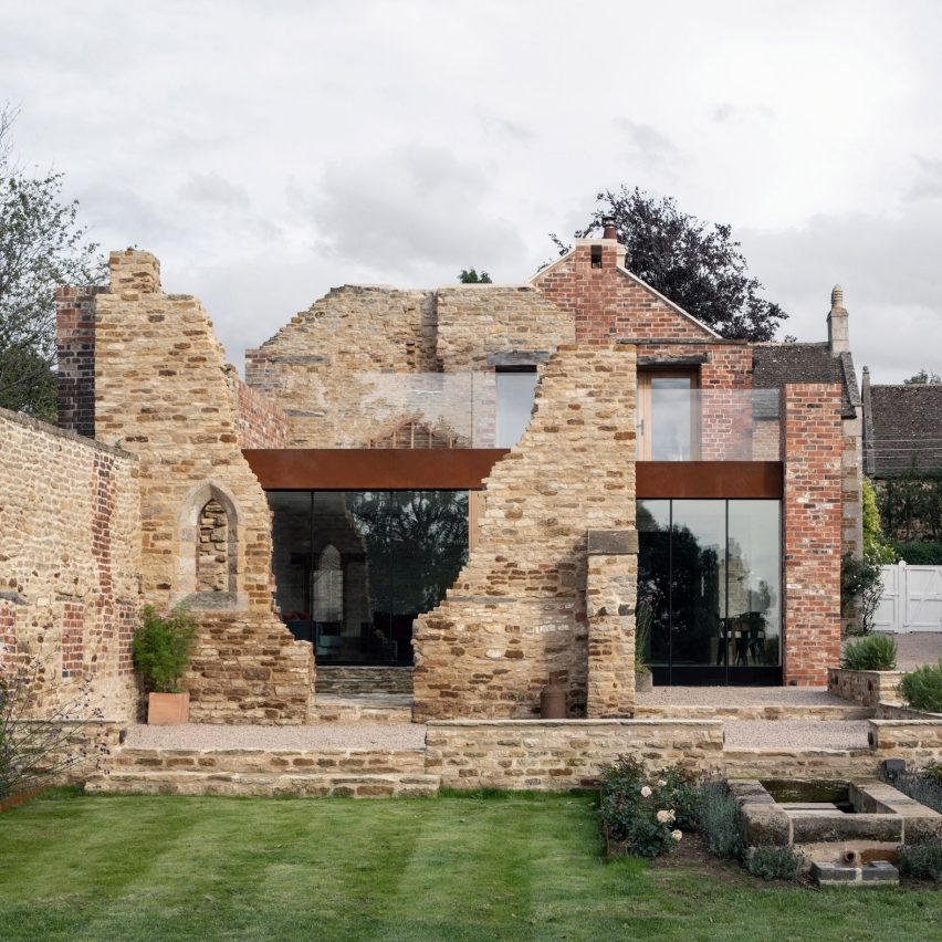 The Parchment Works house extension built inside ruined stone walls