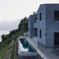 Lorenzo Guzzini builds stone house with infinity pool overlooking Lake Como