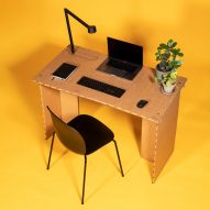 Stykka designs cardboard #StayTheF***Home Desk for people working from home during self-isolation
