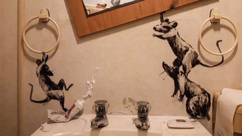 Banksy reveals rodent-themed installation inside his own bathroom