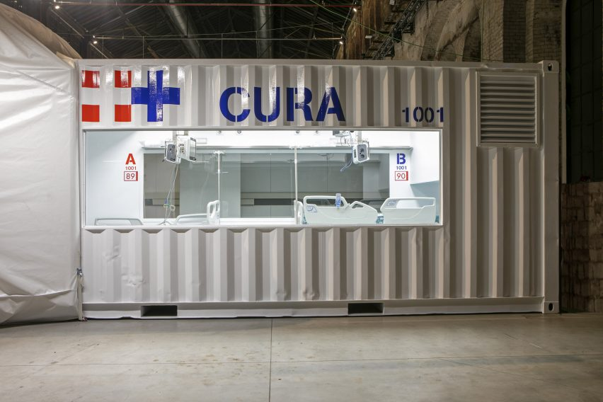 Shipping-container intensive care unit by Carlo Ratti and Italo Rota installed at Turin hospital
