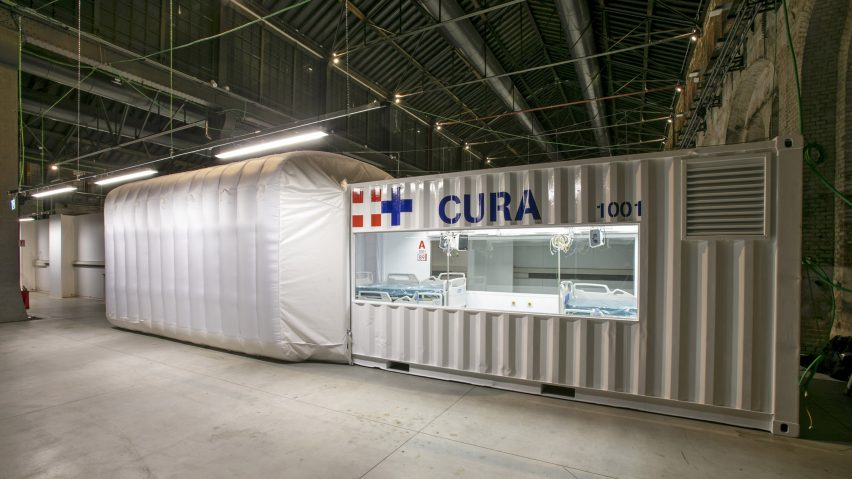 Shipping-container intensive care unit installed at Turin hospital