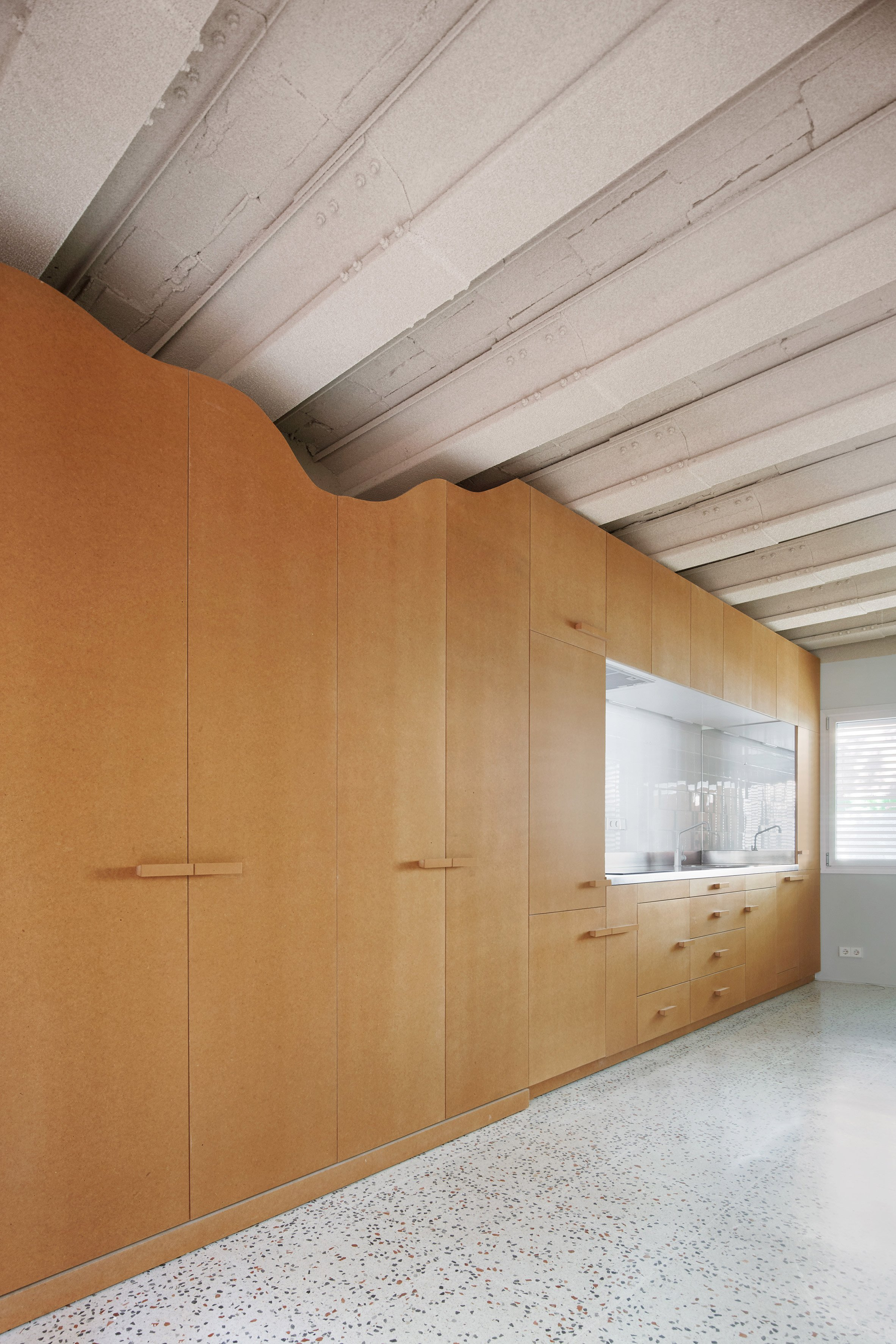 MDF storage walls on the ground floor
