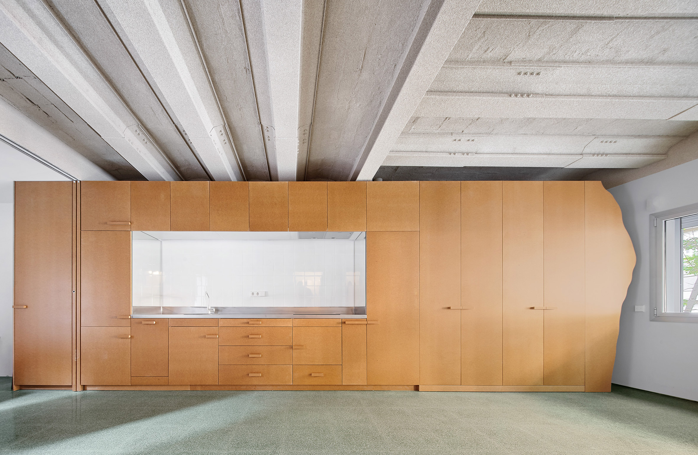 MDF storage walls on the first floor