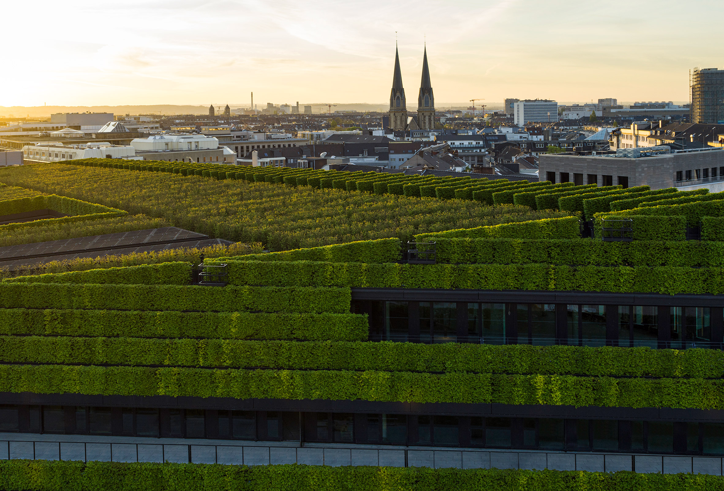 Kö-Bogen II office in Düsseldorf by Ingenhoven Architects is covered with five miles of hedges