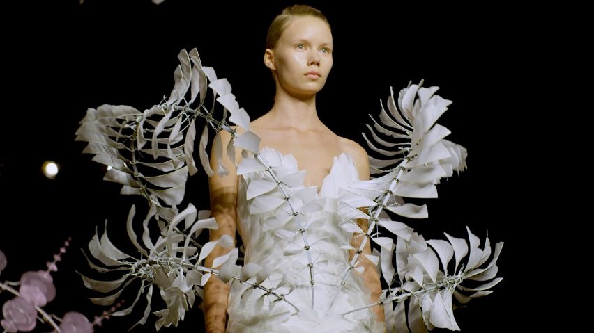 "Iris van Herpen ""hopes you can't see where her garments begin and the skin ends"""
