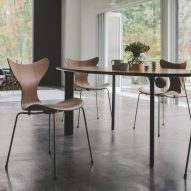 50th anniversary Lily chair in walnut veneer by Arne Jacobsen for Fritz Hansen