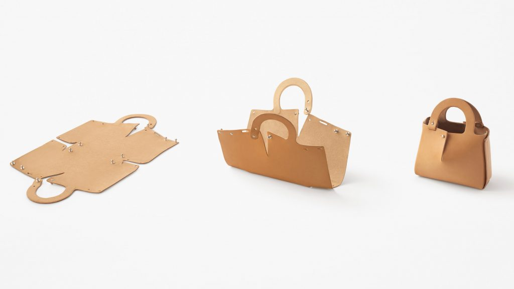 Nendo designs Mai bag from single sheet of laser-cut leather