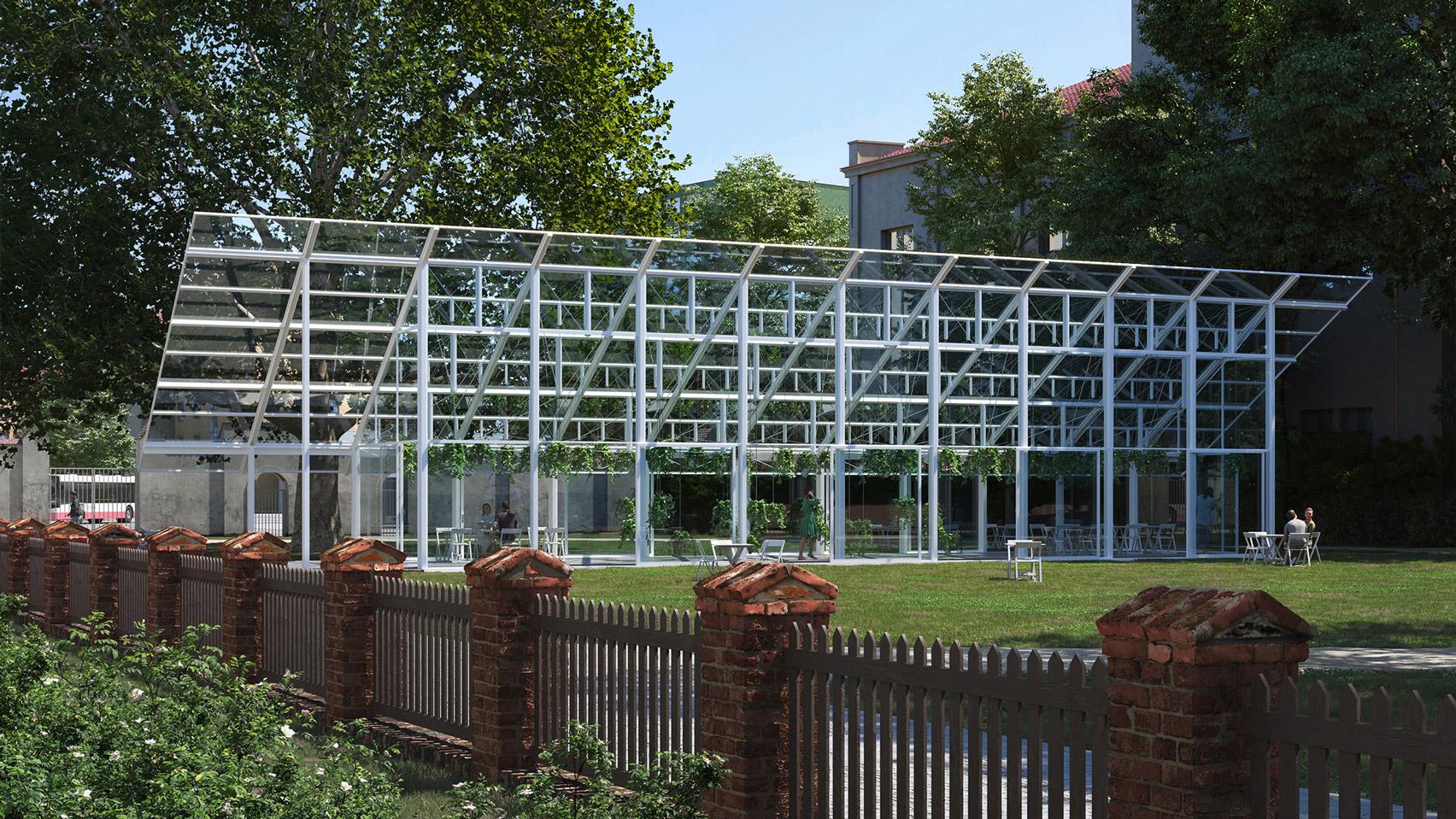 Chybik + Kristof designs greenhouse-style pavilion for Czechian abbey