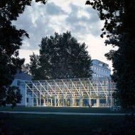 Chybik + Kristof designs greenhouse-style pavilion for Czech abbey