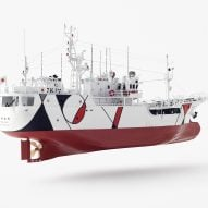 Nendo adorns Shofukumaru longliner boat with graphic patterns to recall life on land