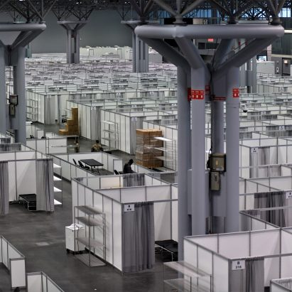 Temporary hospital in New York's Jacob K Javits Convention Center