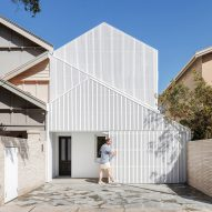 North Bondi House in Sydney fronted by angular white gabled screens