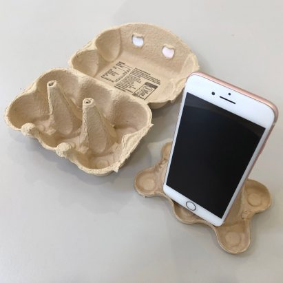 Paul Priestman makes DIY smartphone stand from an egg box for video calls
