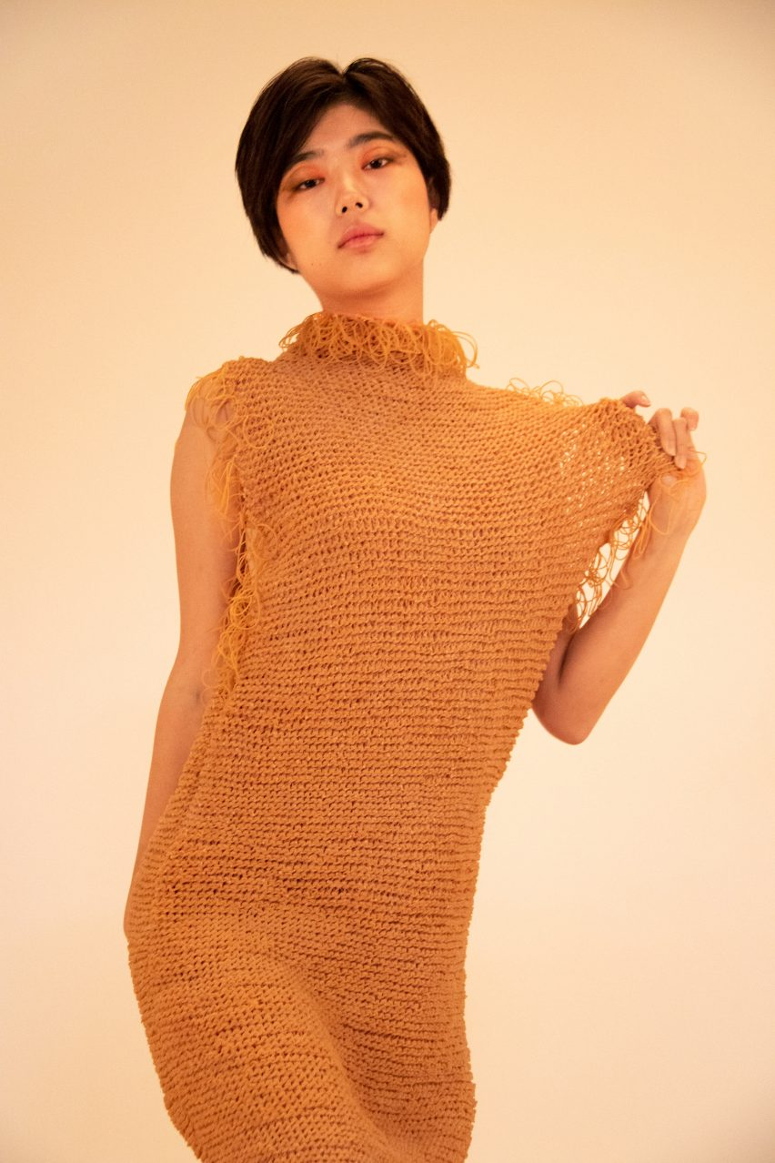 Rie Sakamoto knits rubber bands together like yarn for elastic garments