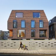 Peckham apartment blocks by Tikari Works are covered in rust-red shingles