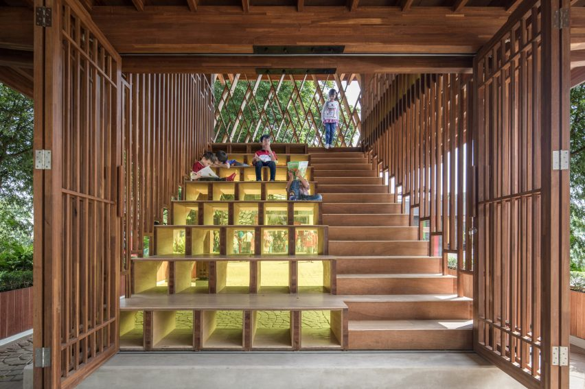 Microlibrary Warak Kayu by Shau staircase auditorium