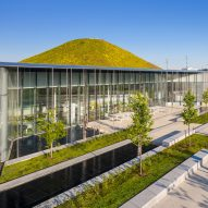 Grassy hill forms skylight over RDHA's Springdale Public Library near Toronto