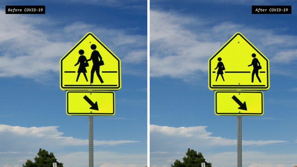 Dylan Coonrad reimagines public street signs to reflect a world facing coronavirus