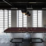 T1.3 Wood by Teckell is a pool table made from crystal and walnut wood