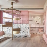 Pink holiday home by KC Design Studio features dedicated cat room