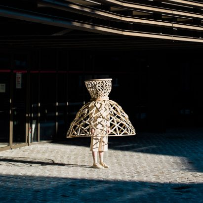 Livable's Well-Distance-Being project uses wearable rattan cages to aid social distancing