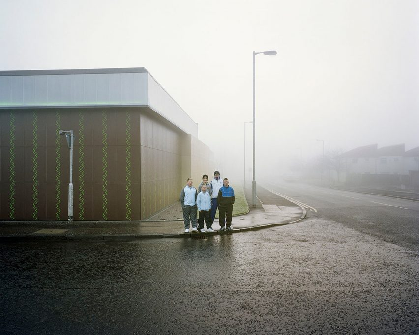 A group of youths in Glasgow photographed by Anthony Coleman, who appears on a Zoomed In panel