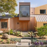 "Slim wooden slats cover ""wild geometry"" of renovated Californian house"