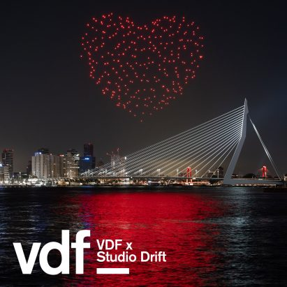 Studio Drift uses drones to create beating heart above Rotterdam in tribute to healthcare workers
