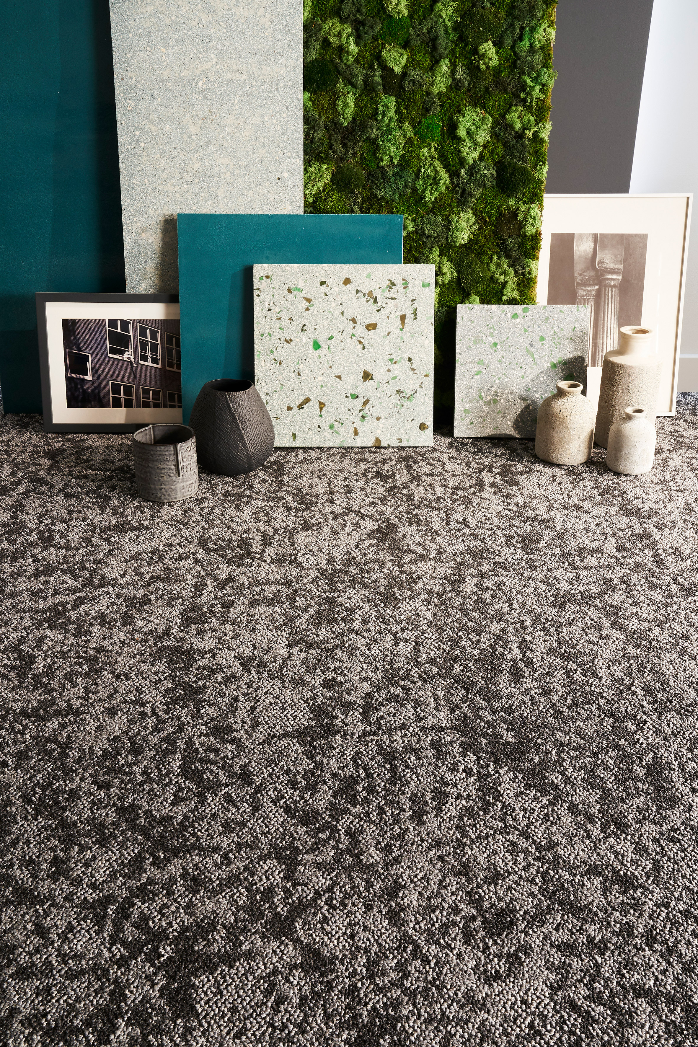 Forbo's Tessera Earthscape carpet tile collection features a dappled effect inspired by nature
