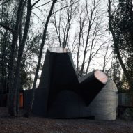 Black concrete skylights protrude from House for the Poem of the Right Angle by Smiljan Radić